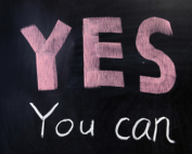 """YES you can"" on chalkboard"